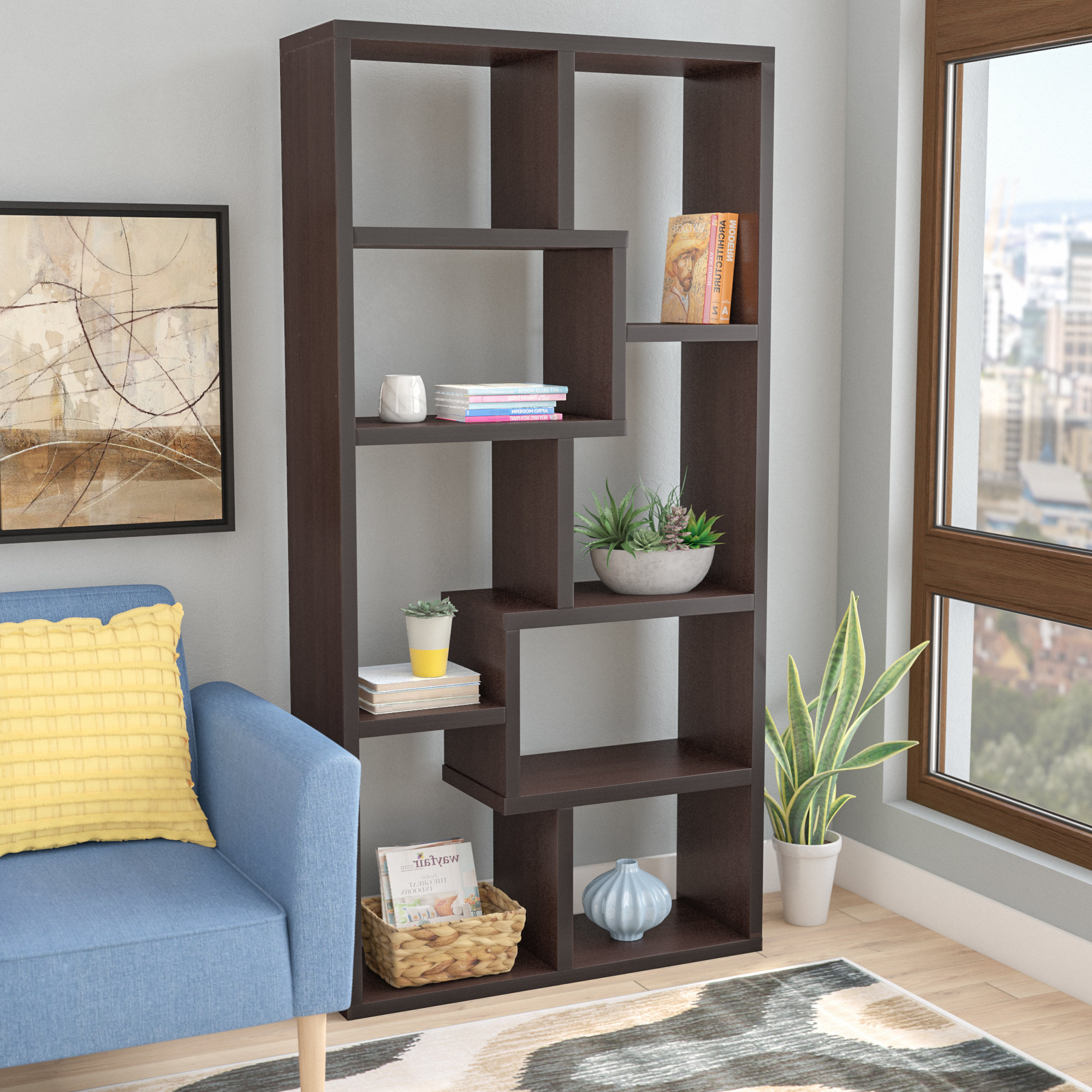 Featured Photo of Ansley Geometric Bookcases