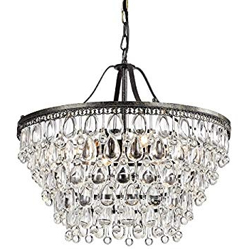 Antique Black 5 Light Crystal Drop Chandelier – – Amazon With Regard To Well Known Verdell 5 Light Crystal Chandeliers (Gallery 19 of 25)