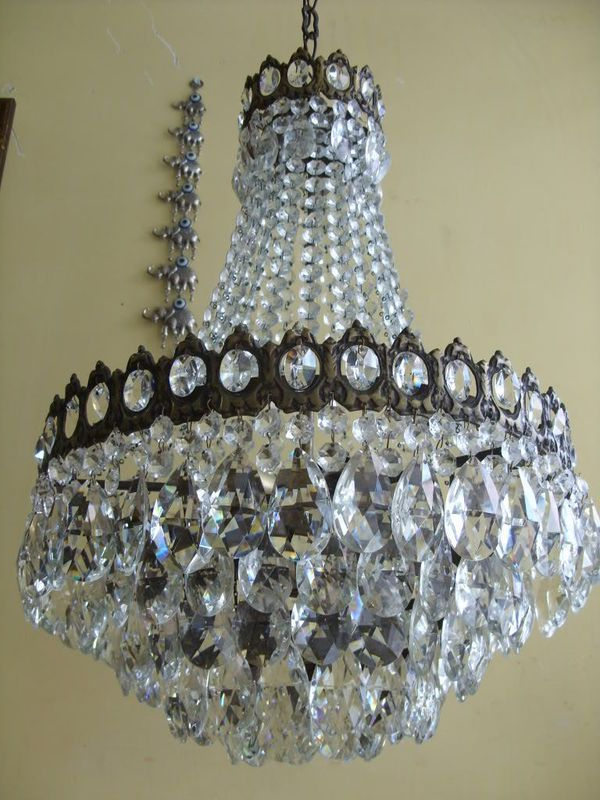 Antique French Basket Crystal Chandelier Lamp 1940S, Ebay For Current Whitten 4 Light Crystal Chandeliers (Gallery 20 of 25)
