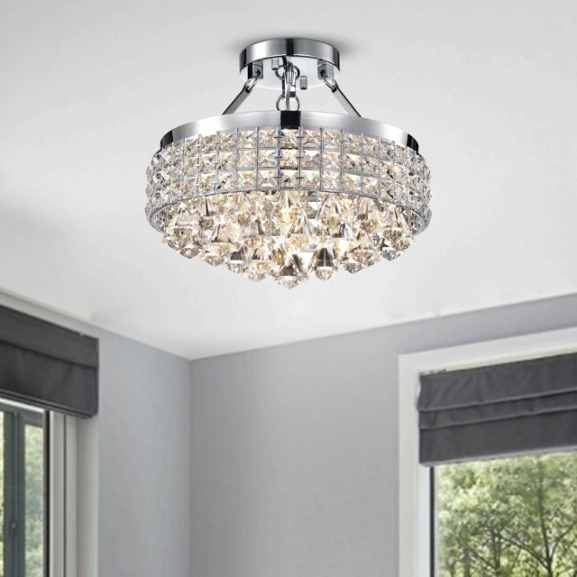 Antonia 4 Light Crystal Semi Flush Mount Chandelier With Silver With Most Up To Date Von 4 Light Crystal Chandeliers (Gallery 20 of 25)