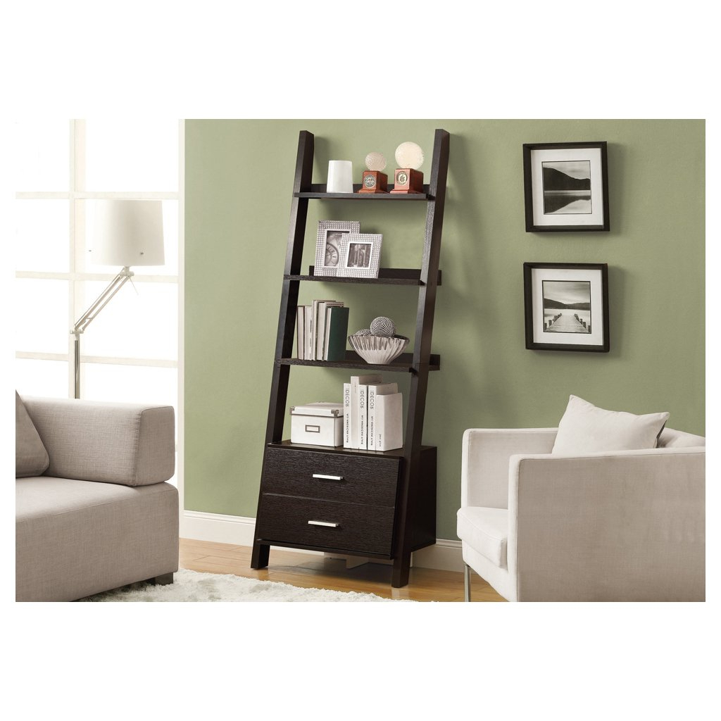 "Antoninus Ladder Bookcases Inside 2019 Monarch Specialties I 2542 Ladder Bookcase With Two Storage Drawers, 69"", Cappuccino (View 13 of 20)"