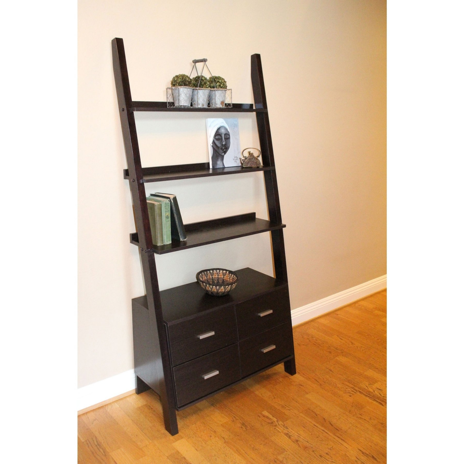 Antoninus Ladder Bookcases Throughout Most Recent 4d Concepts Leaning Ladder Bookshelf With Drawers – Walnut (View 12 of 20)
