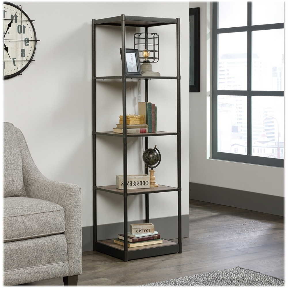 Aptos Etagere Bookcases Pertaining To Fashionable Sauder – Barrister Lane Collection 4 Shelf Bookcase – Salt (Gallery 5 of 20)