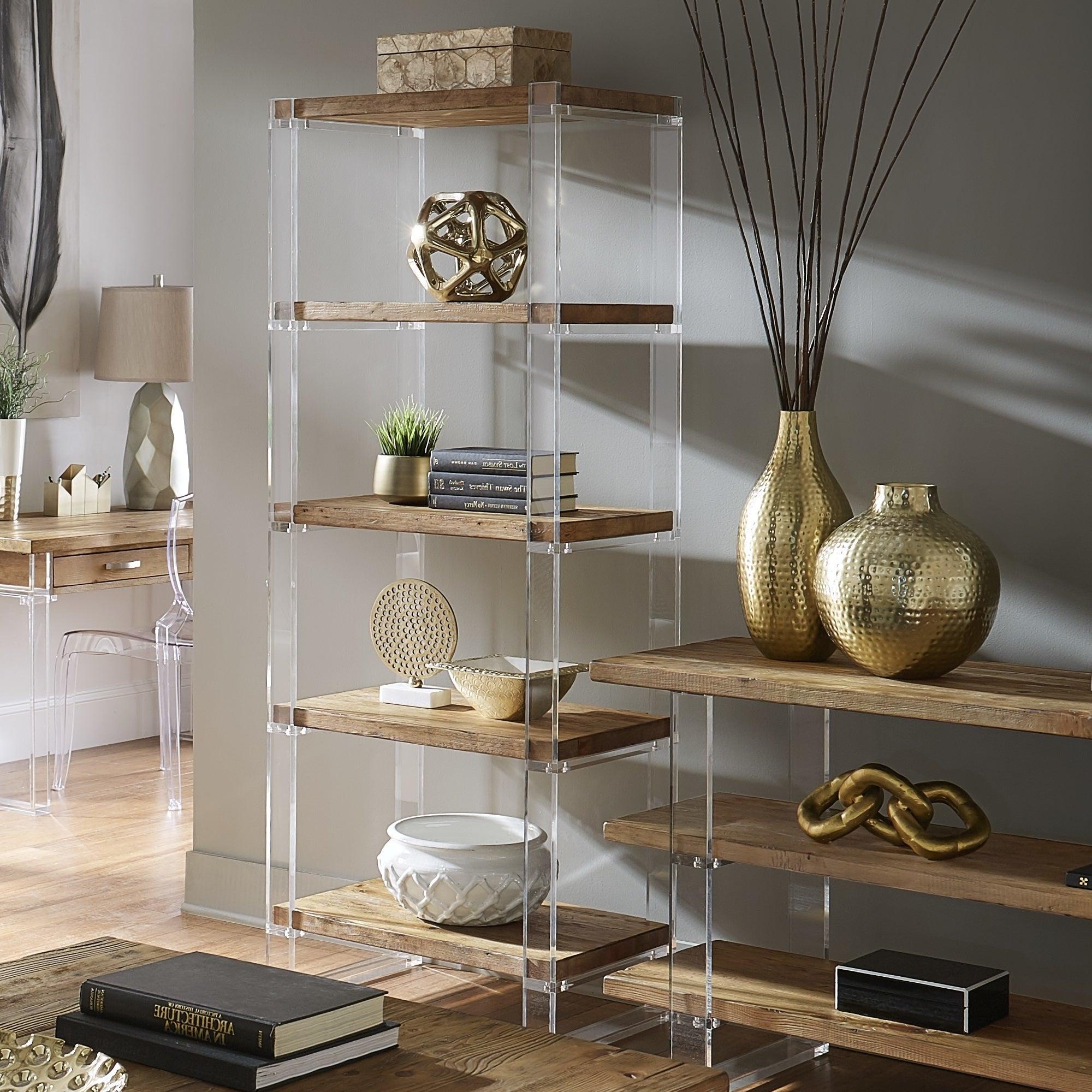 Aptos Etagere Bookcases Regarding Fashionable Annika Reclaimed Wood And Acrylic Bookshelfinspire Q Artisan (View 5 of 20)