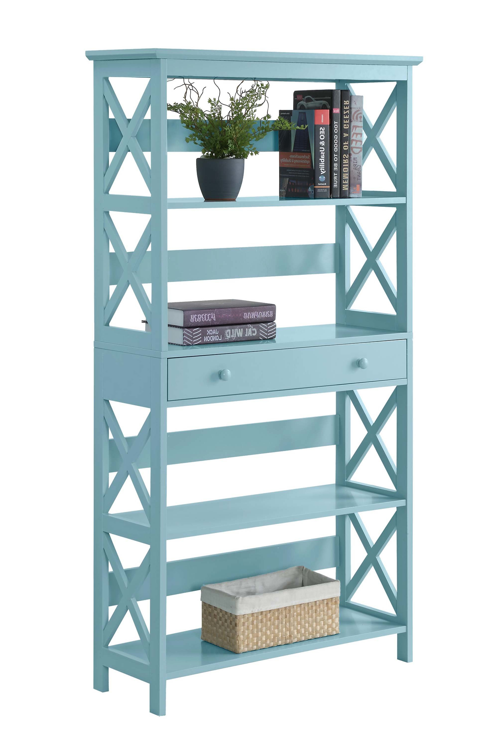 Ardenvor Etagere Standard Bookcases Pertaining To Popular Beachcrest Home Gracelynn 5 Tier Etagere Bookcase (View 19 of 20)