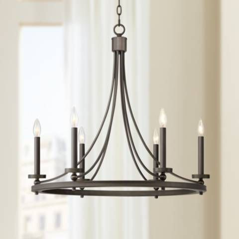 "Arianne 27 1/2"" Wide Bronze Metal 6 Light Chandelier With Regard To Well Liked Diaz 6 Light Candle Style Chandeliers (Gallery 20 of 25)"