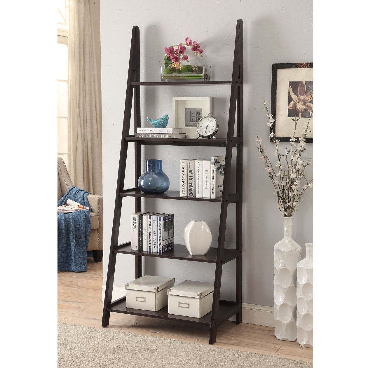 Averett Ladder Bookcases Pertaining To Recent Linden Ladder Bookcase (View 9 of 20)