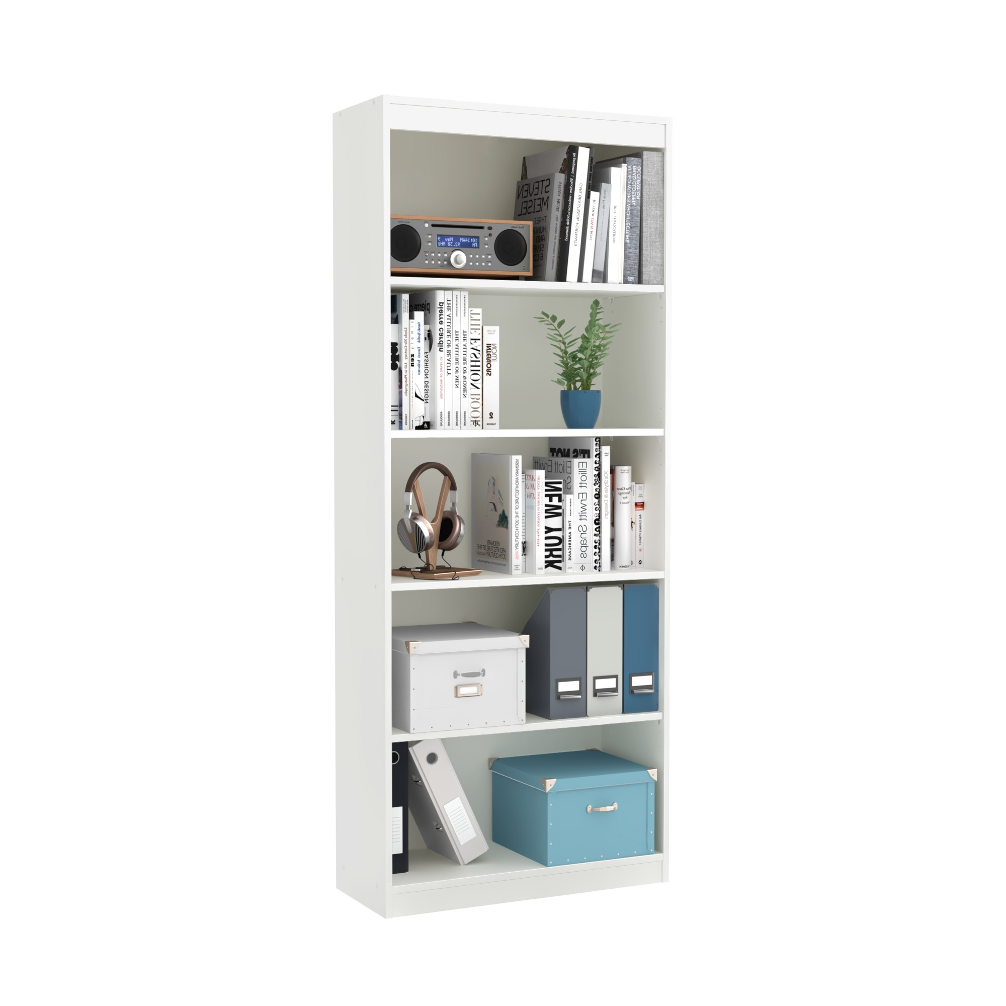 Axess Standard Bookcases In 2019 South Shore Axess 5 Shelf Bookcase – White/pure White (View 8 of 20)