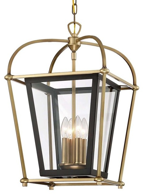 Baron 4 Light Foyer Lantern Chandelier Fixture, Aged Brass And Matte Black With Favorite Millbrook 5 Light Shaded Chandeliers (View 21 of 25)