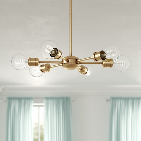 Bautista 6 Light Sputnik Chandelier With Regard To Most Recently Released Silvia 6 Light Sputnik Chandeliers (Gallery 10 of 25)