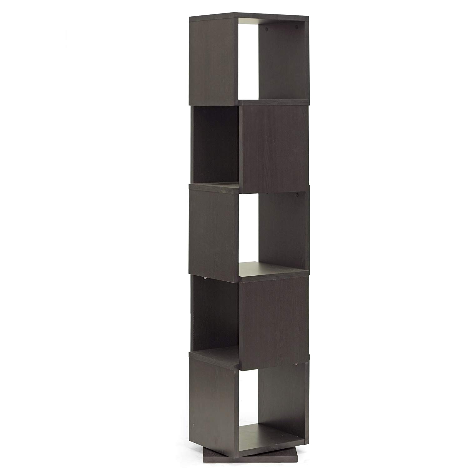 Baxton Studio Ogden 5 Level Rotating Modern Bookshelf, Dark Brown Inside Well Liked Ogden Corner Unit Bookcases (Gallery 9 of 20)