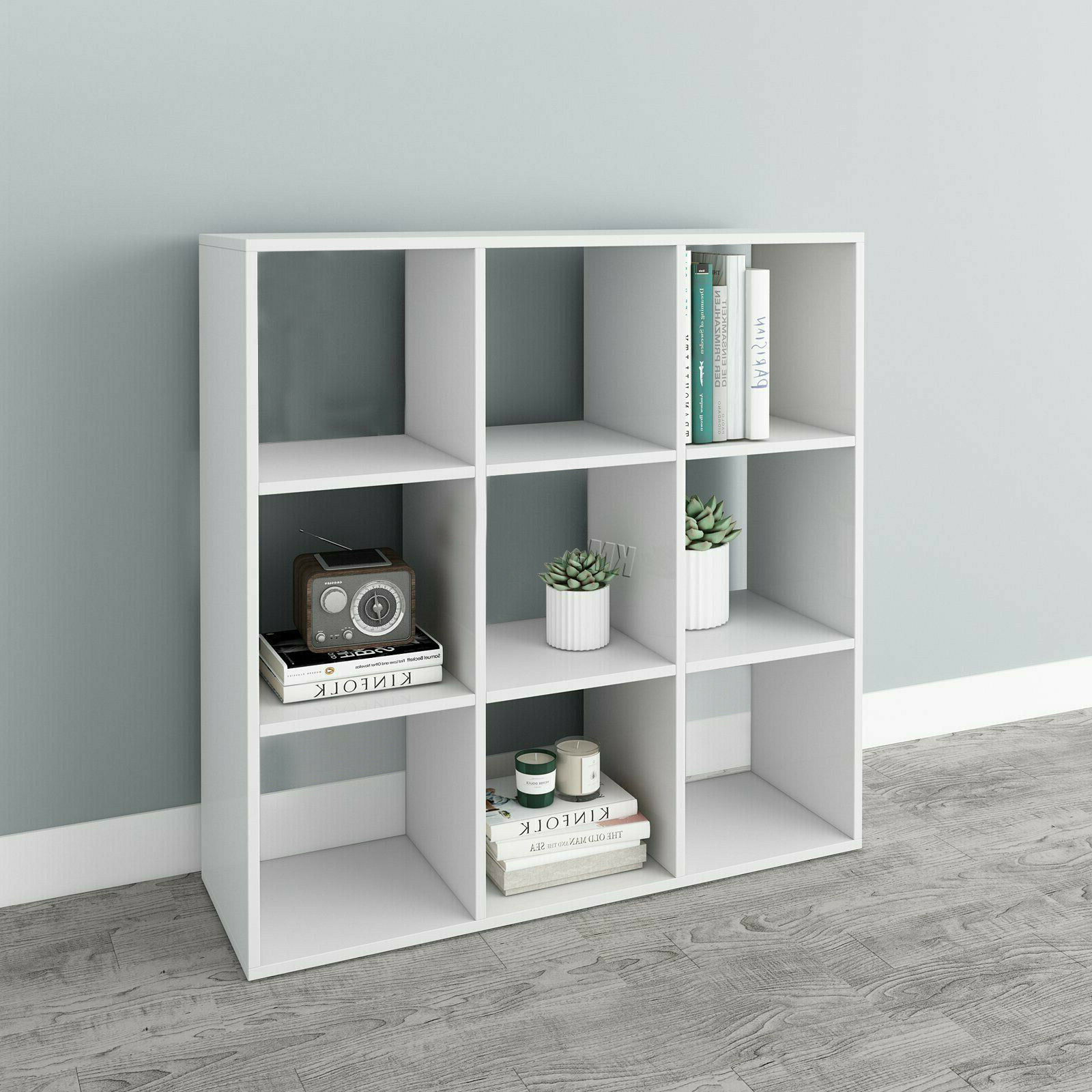 Beckett Corner Bookcases Pertaining To Well Known White 9 Cube Bookshelf Storage Shelves Office Shelving Display Rack  Bookcase Uk (Gallery 12 of 20)