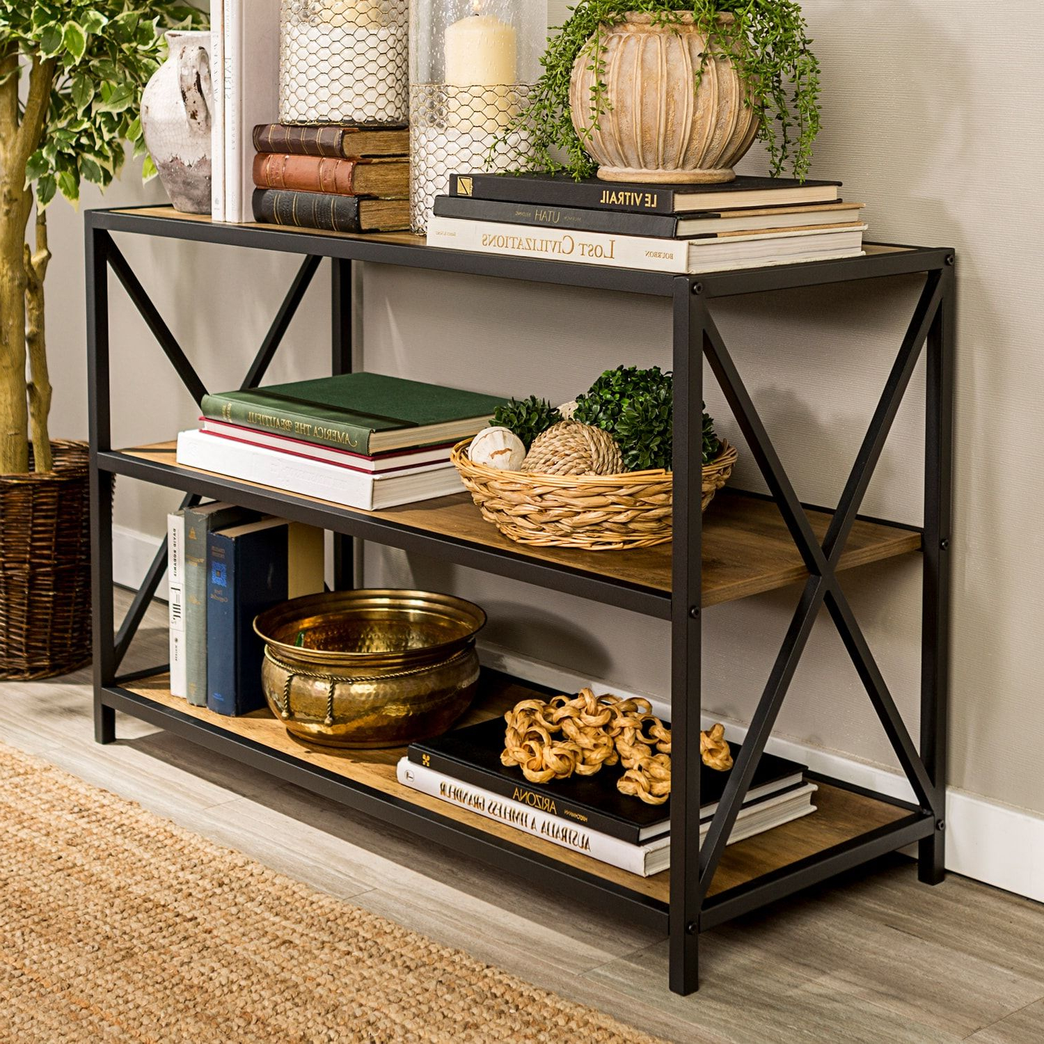"Best And Newest Adair Etagere Bookcases In Rustic Oak 40"" X Frame Metal & Wood Bookshelf (View 15 of 20)"