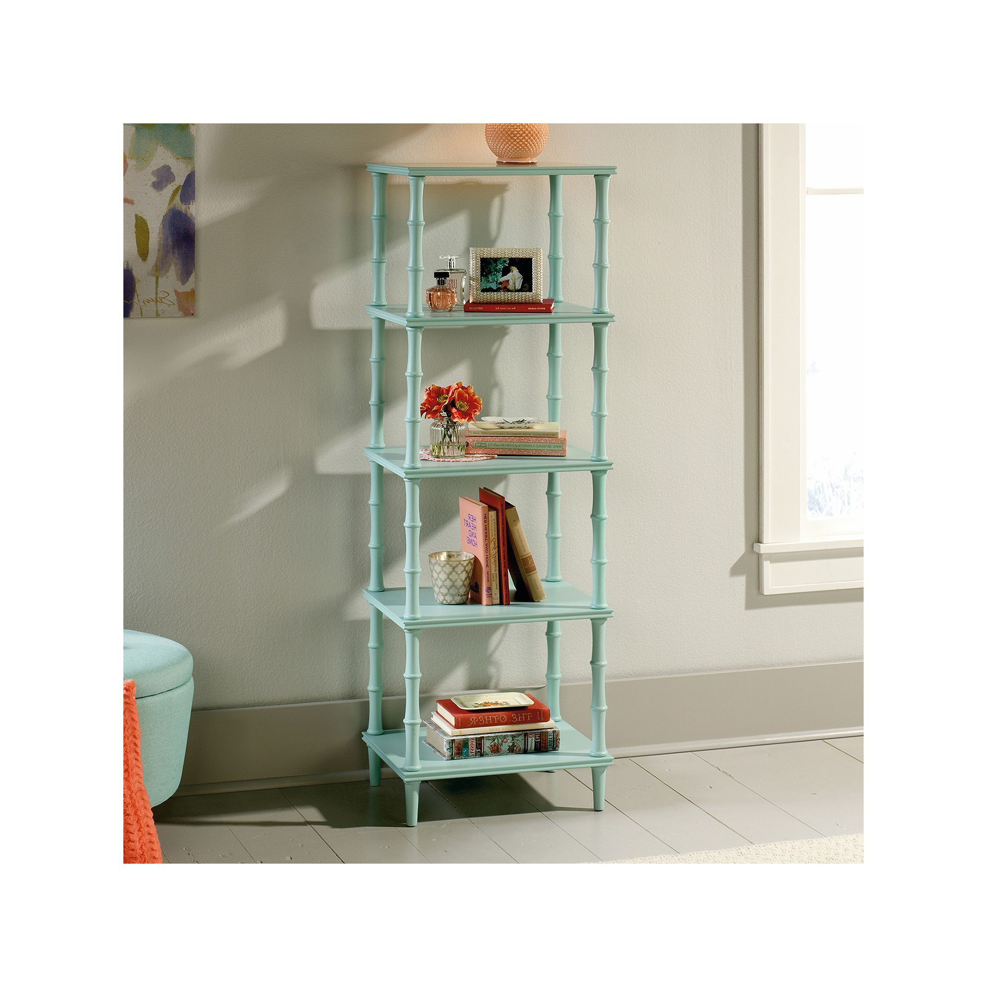 Best And Newest Ardenvor Etagere Standard Bookcases With Regard To Sauder Eden Rue Tower Etagere 4 Shelf Bookcase (Gallery 11 of 20)