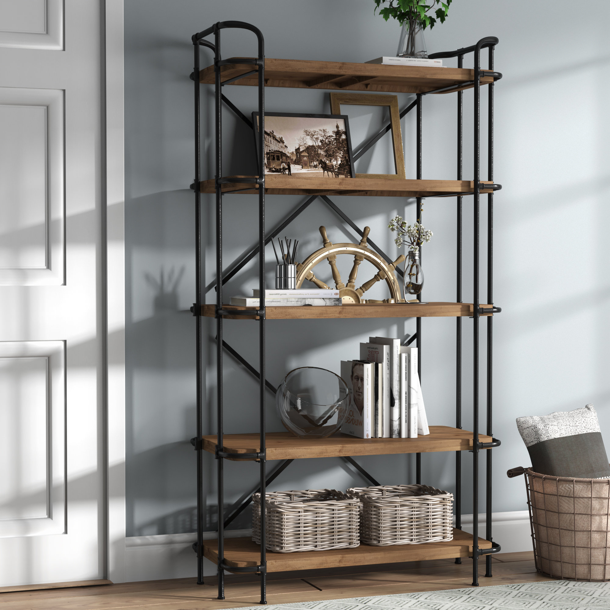 Best And Newest Ebba Etagere Bookcase Throughout Cifuentes Dual Etagere Bookcases (View 10 of 20)