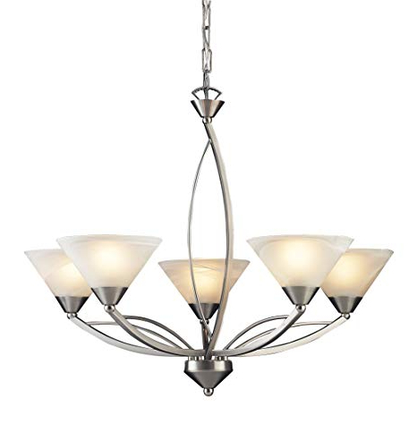 Best And Newest Elk 7637/5 5 Light Chandelier In Satin Nickel And Marbleized White Glass In Suki 5 Light Shaded Chandeliers (View 18 of 25)