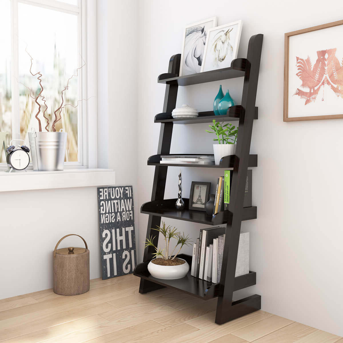 Best And Newest Ignacio 5 Open Shelf Solid Wood Leaning Ladder Bookcase Pertaining To Ignacio Standard Bookcases (View 11 of 20)