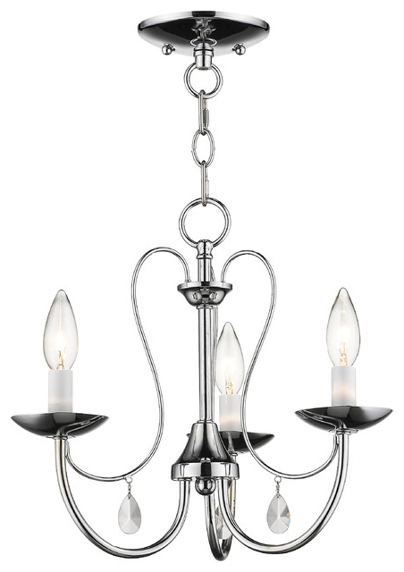 Best And Newest Mirabella 3 Light Chandelier, Polished Chrome Inside Clea 3 Light Crystal Chandeliers (View 14 of 25)