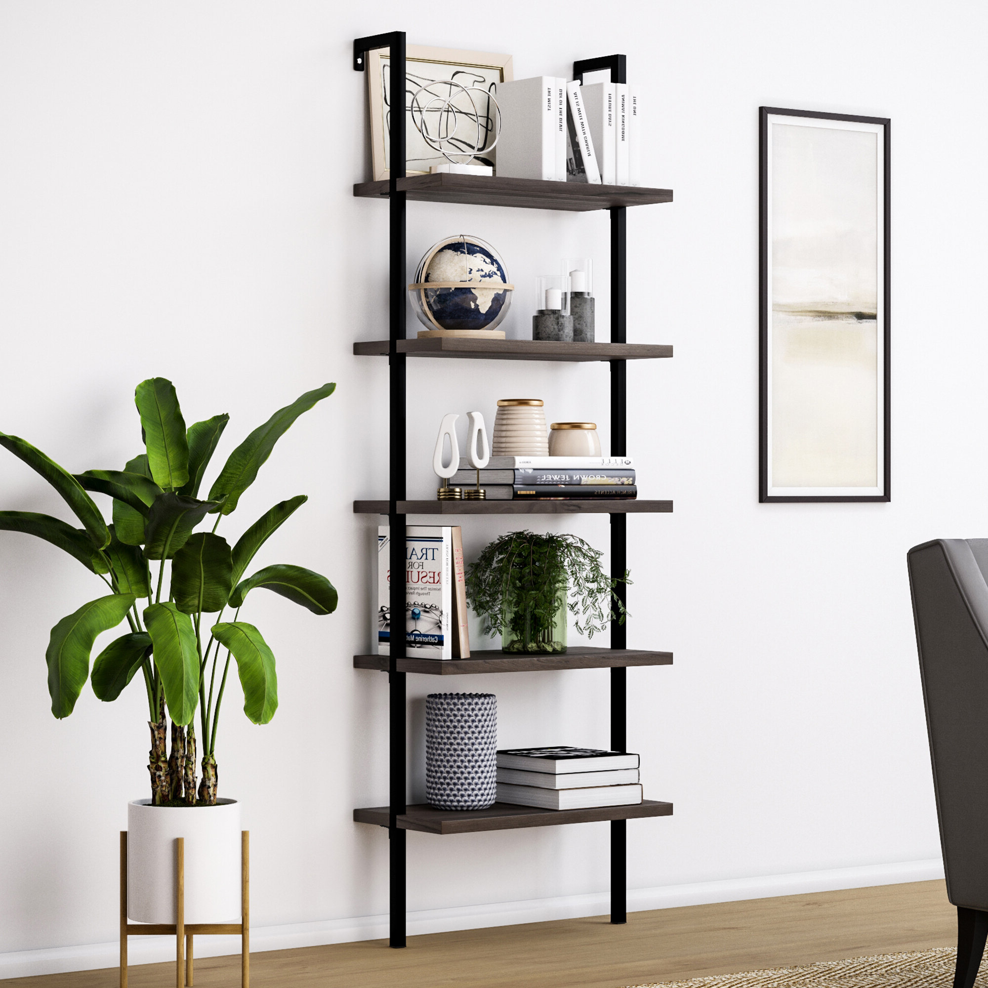 Best And Newest Noelle Ashlynn Ladder Bookcases Throughout Modern Leaning Bookcases (View 3 of 20)