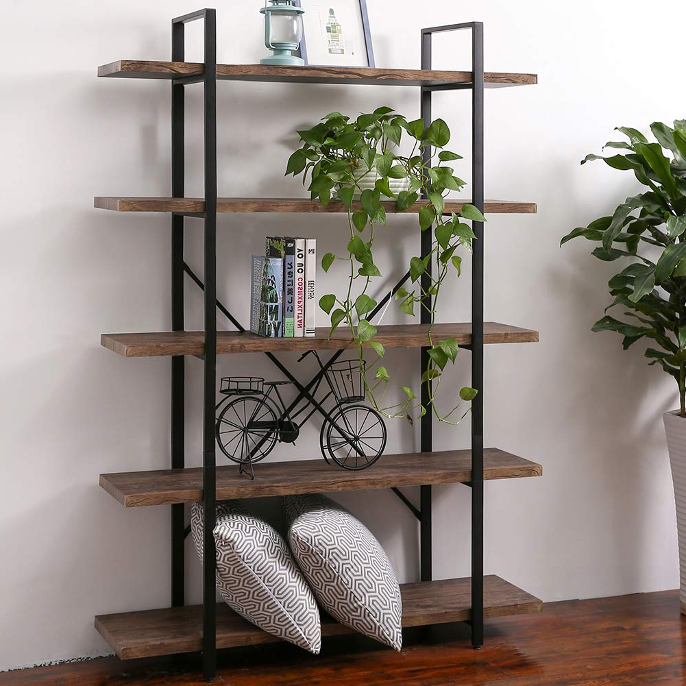 Best And Newest Superjare 5 Shelf Industrial Bookshelf, Open Etagere Bookcase With Metal Frame, Rustic Book Shelf, Storage Display Shelves, Wood Grain – Vintage Throughout Whidden Etagere Bookcases (View 7 of 20)