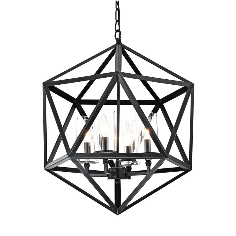 Best And Newest Venita 4 Light Geometric Chandelier For Tabit 5 Light Geometric Chandeliers (Gallery 11 of 25)
