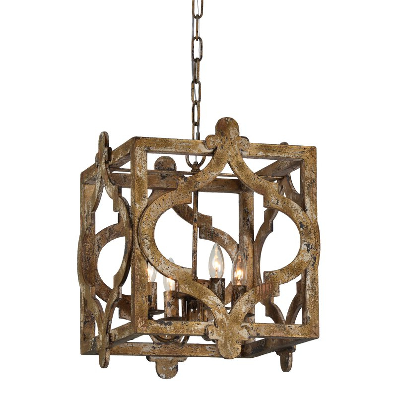 Best And Newest Whitney 4 Light Lantern Square Pendant Inside Freeburg 4 Light Lantern Square / Rectangle Pendants (Gallery 10 of 25)
