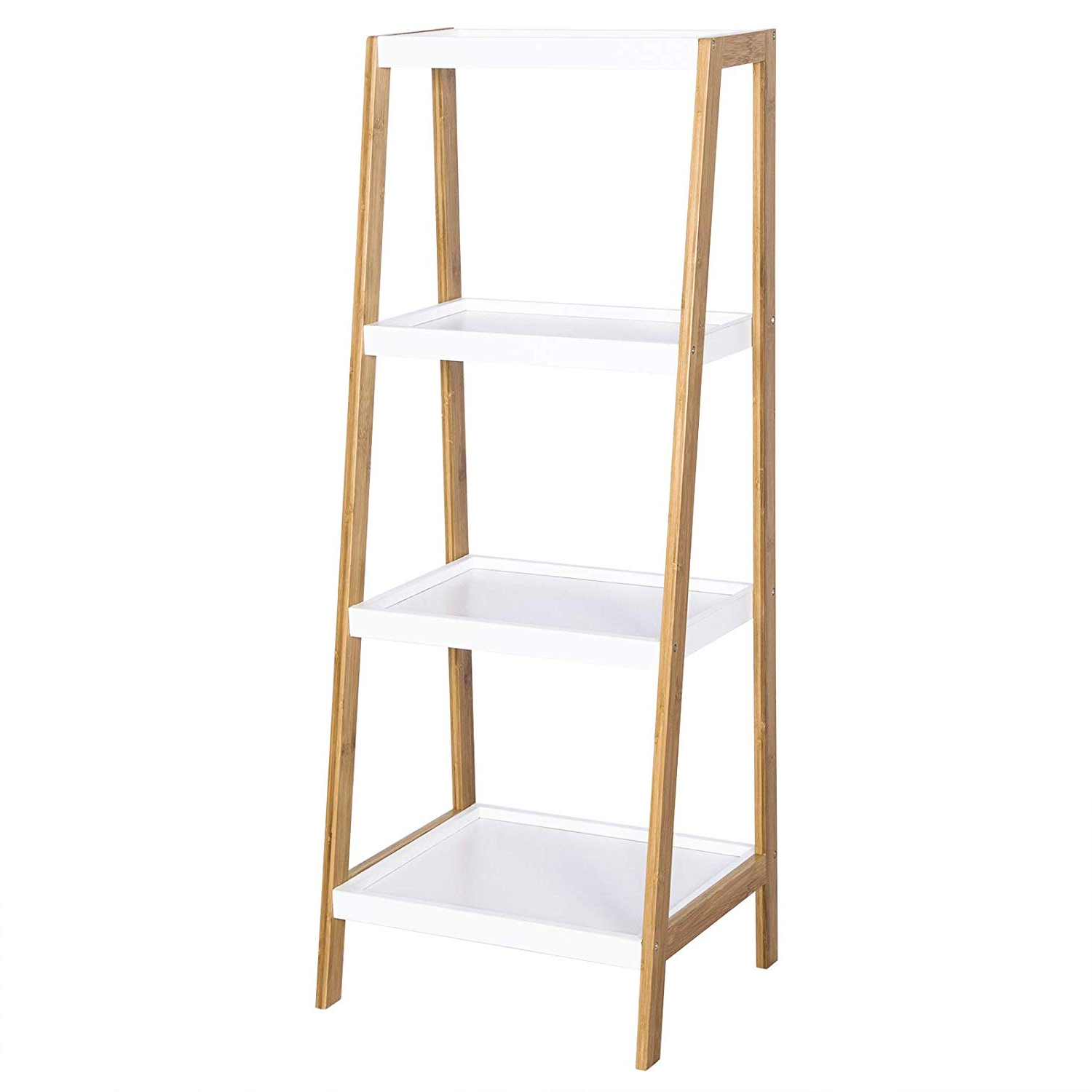 Best And Newest Woltu Ladder Shelf Unit Bookcase With Wooden 4 Tier Trays,bamboo Frame  (View 3 of 20)