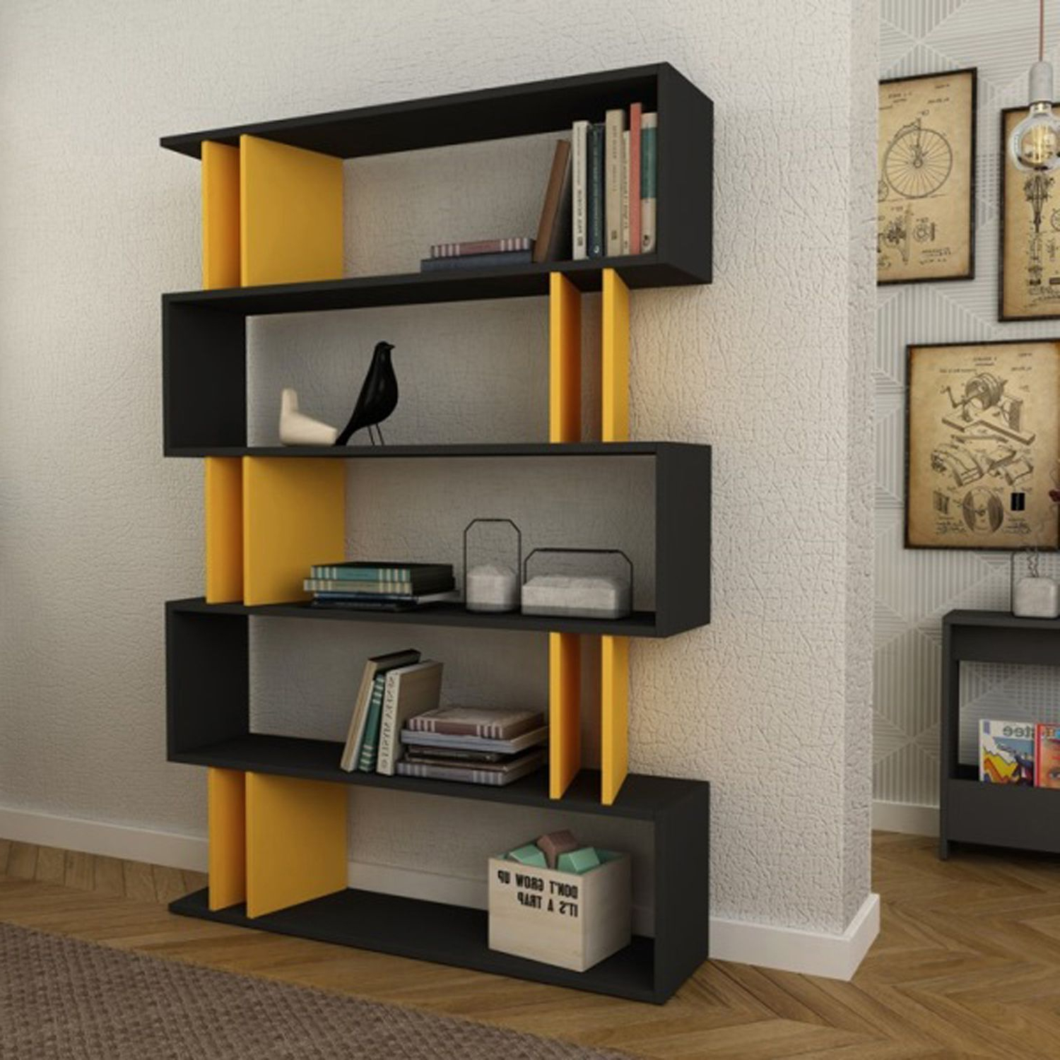 Blairs Etagere Bookcases Inside Most Recent Elias Anthracite & Mustard Bookcase (View 2 of 20)