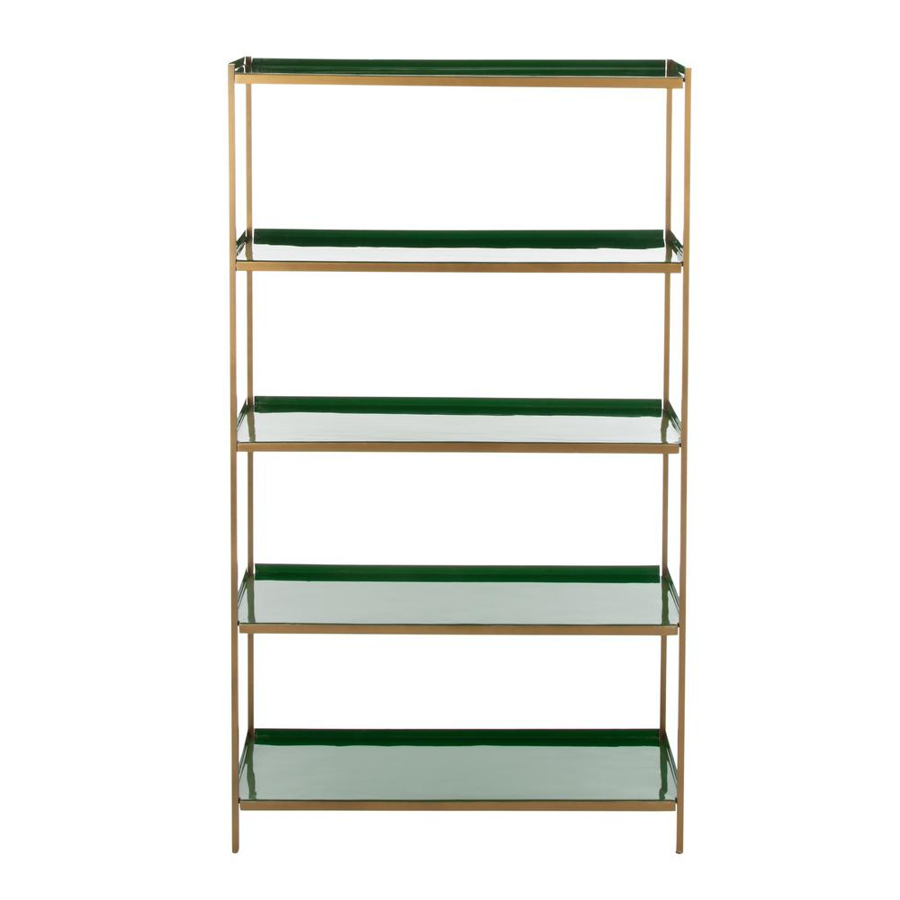 Blairs Etagere Bookcases Inside Most Recent Safavieh Justine Green/brass 5 Tier Etagere Etg3201B – The (View 4 of 20)