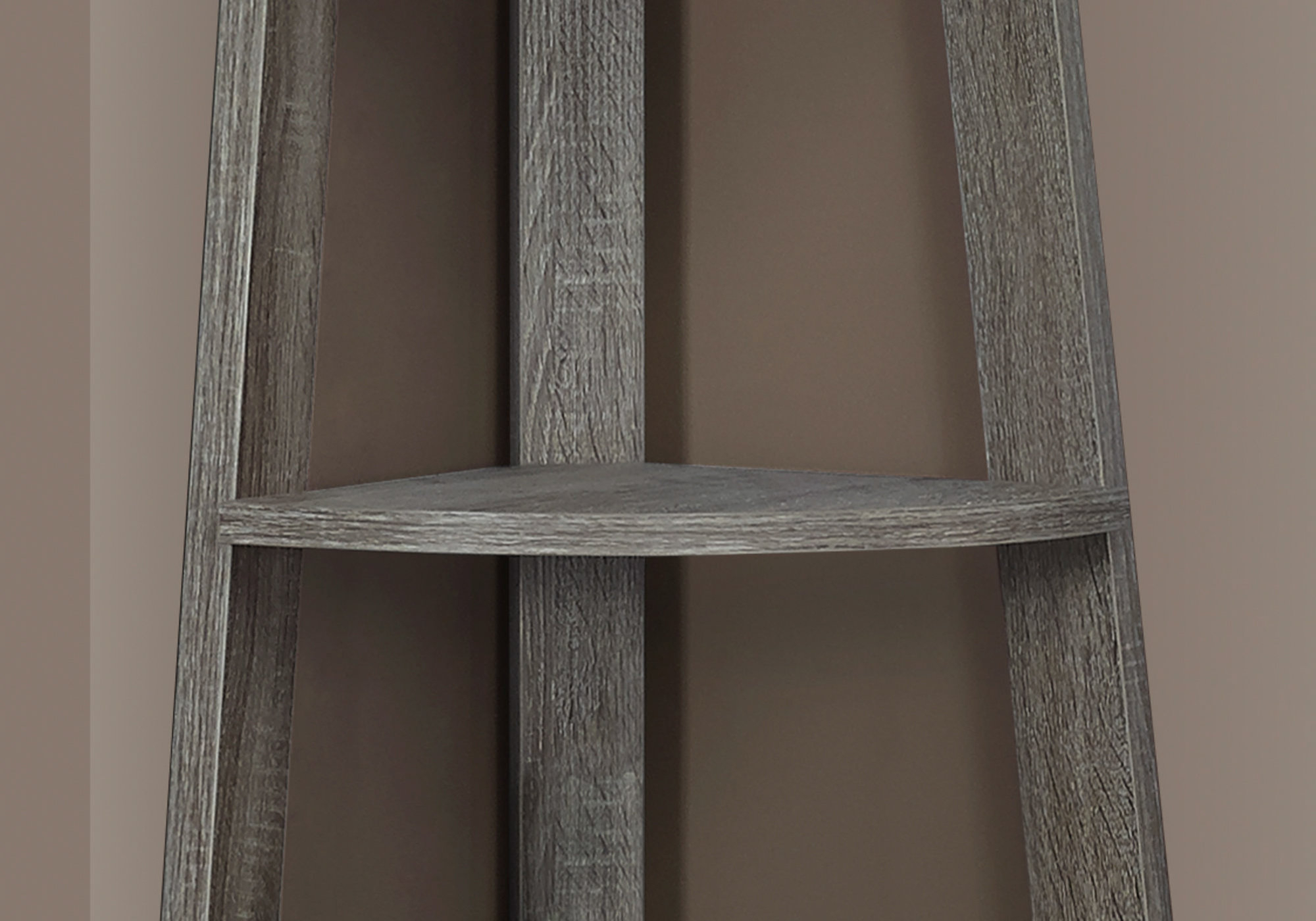 "Bookcase – 72""h / Dark Taupe Corner Accent Etagere – Accents Inside Fashionable Belcher Corner Bookcases (View 15 of 20)"
