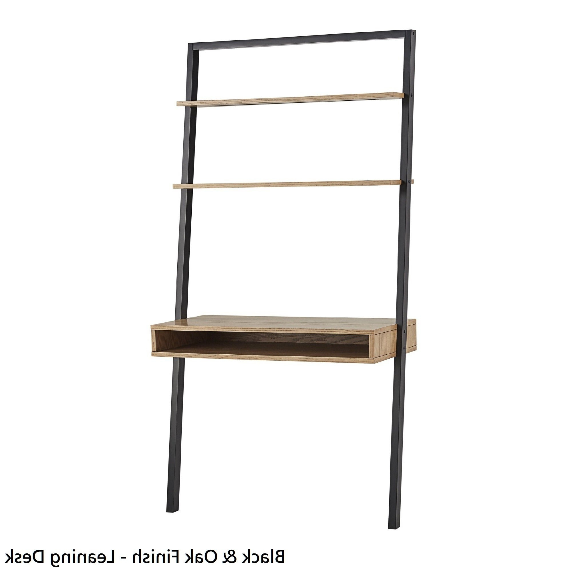 Bordelon Slatted Ladder Bookcases In Most Popular Black Ladder Shelf With Drawer (Gallery 20 of 20)
