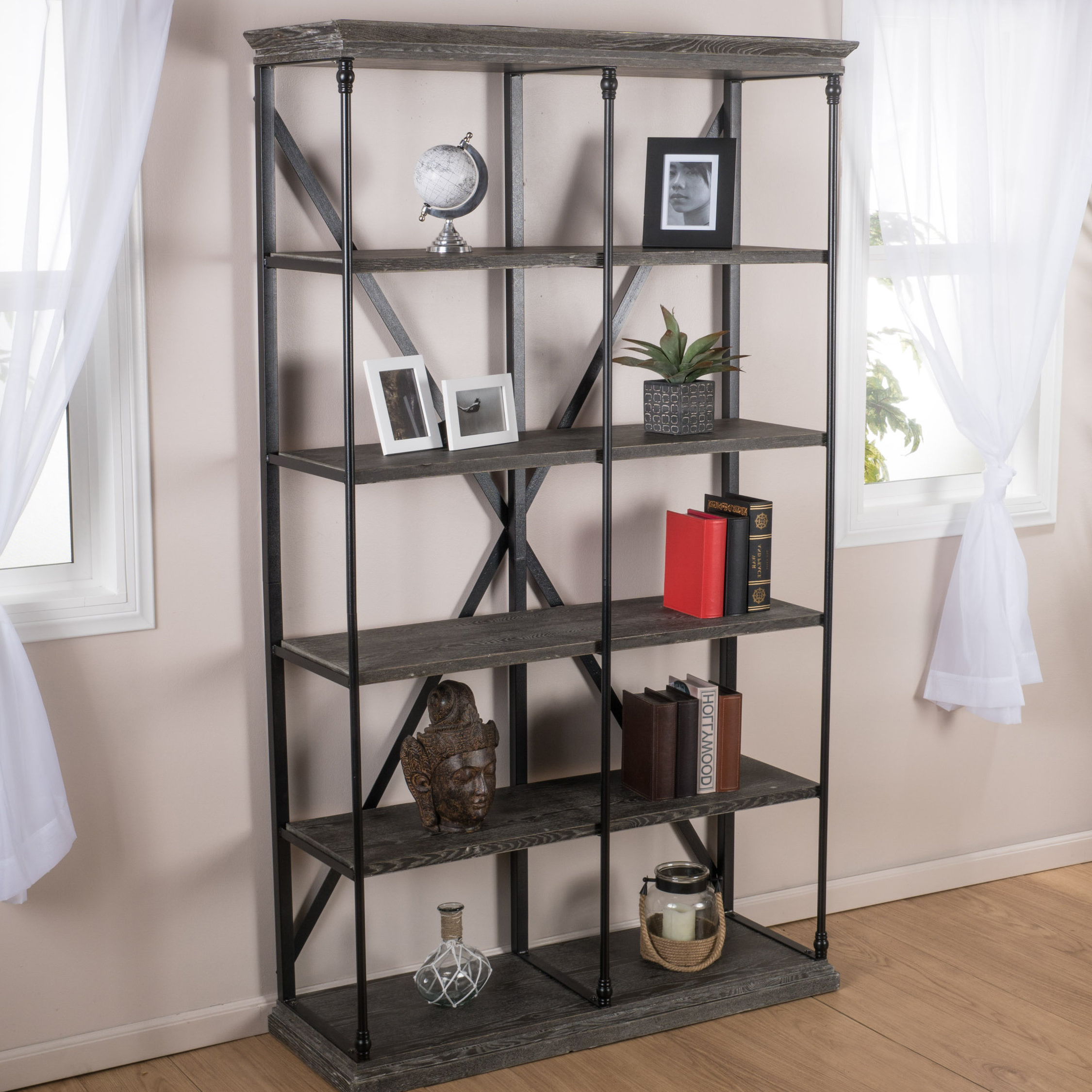 Borgata Etagere Bookcase With Trendy Thea Blondelle Library Bookcases (View 16 of 20)