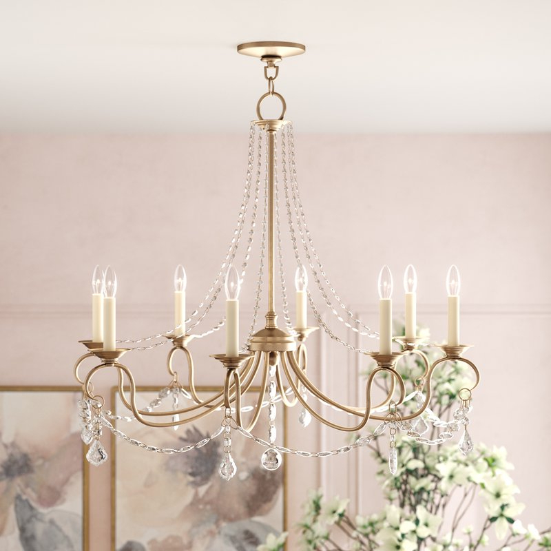 Bouchette Traditional 6 Light Candle Style Chandeliers With Recent Devana 8 Light Chandelier (View 11 of 25)