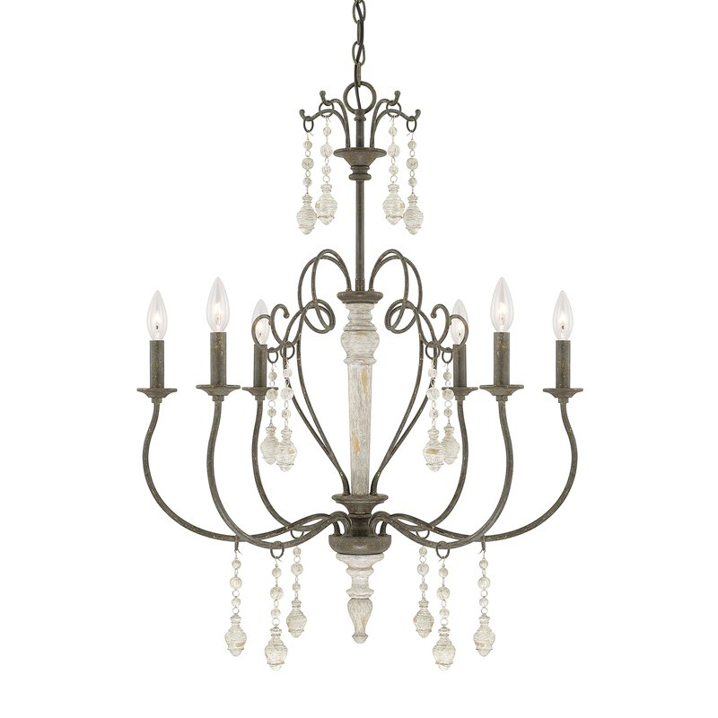 Bouchette Traditional 6 Light Chandelier Pertaining To Preferred Corneau 5 Light Chandeliers (View 19 of 25)