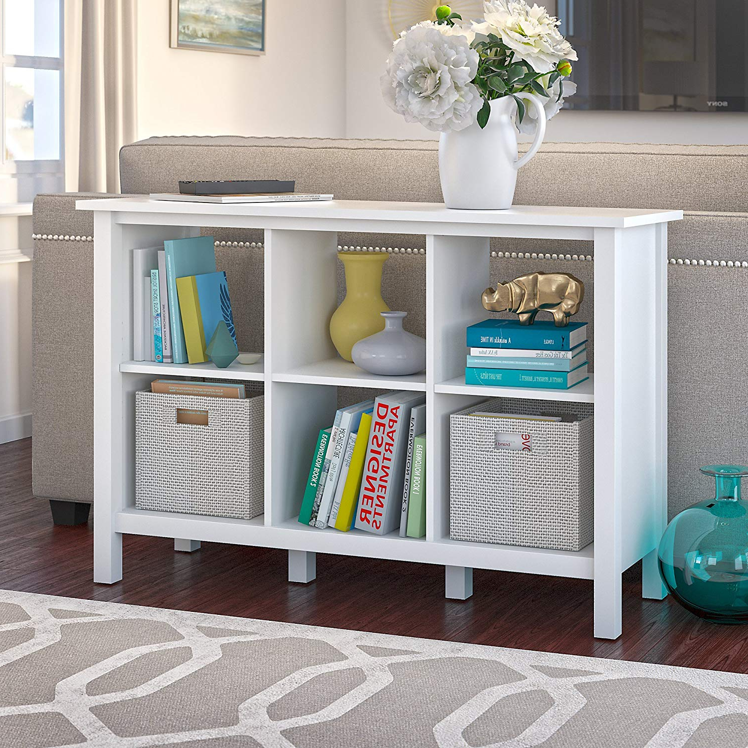 Broadview Cube Unit Bookcases Regarding Well Known Bush Furniture Broadview 6 Cube Storage Bookcase In Pure White (View 7 of 20)