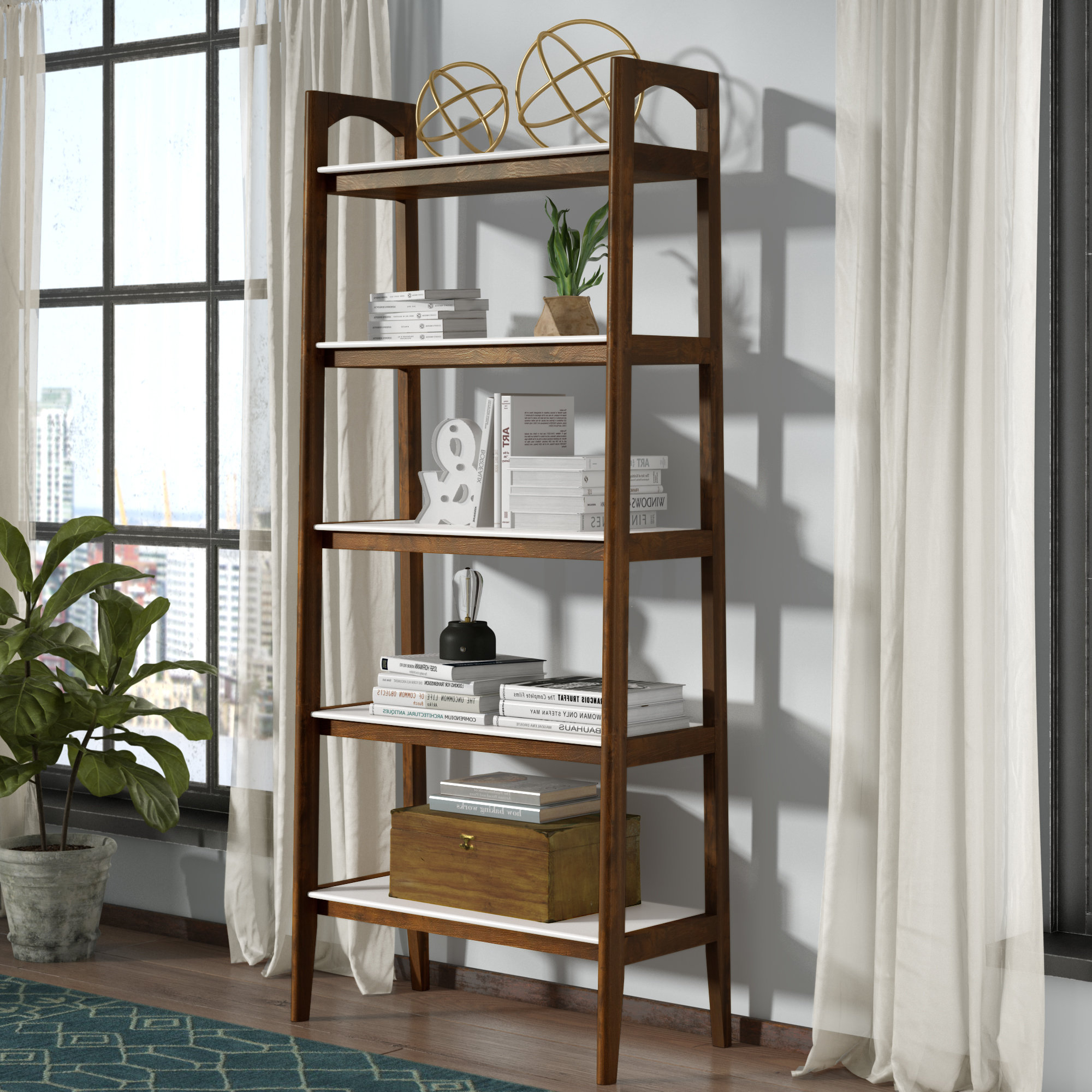 Brock Ladder Bookcases Regarding Widely Used Erin Ladder Bookcase (View 2 of 20)