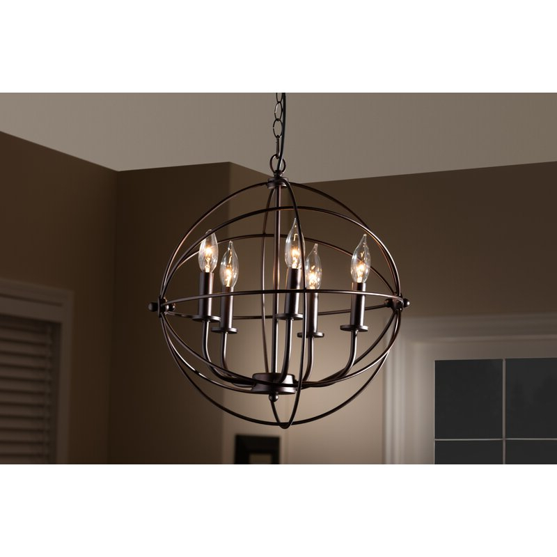 Bucci Orb Cage 5 Light Globe Chandelier For Latest Verlene Foyer 5 Light Globe Chandeliers (Gallery 23 of 25)