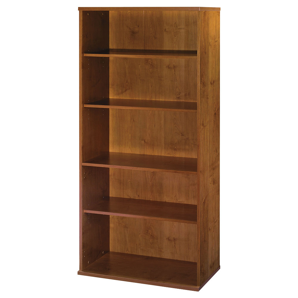 """Bush Wc72414 Series C Collection 35 5/8"""" X 15 3/8"""" X 72 7/8"""" Standard Natural Cherry 5 Shelf Bookcase Throughout Famous Series C Standard Bookcases (View 5 of 20)"""