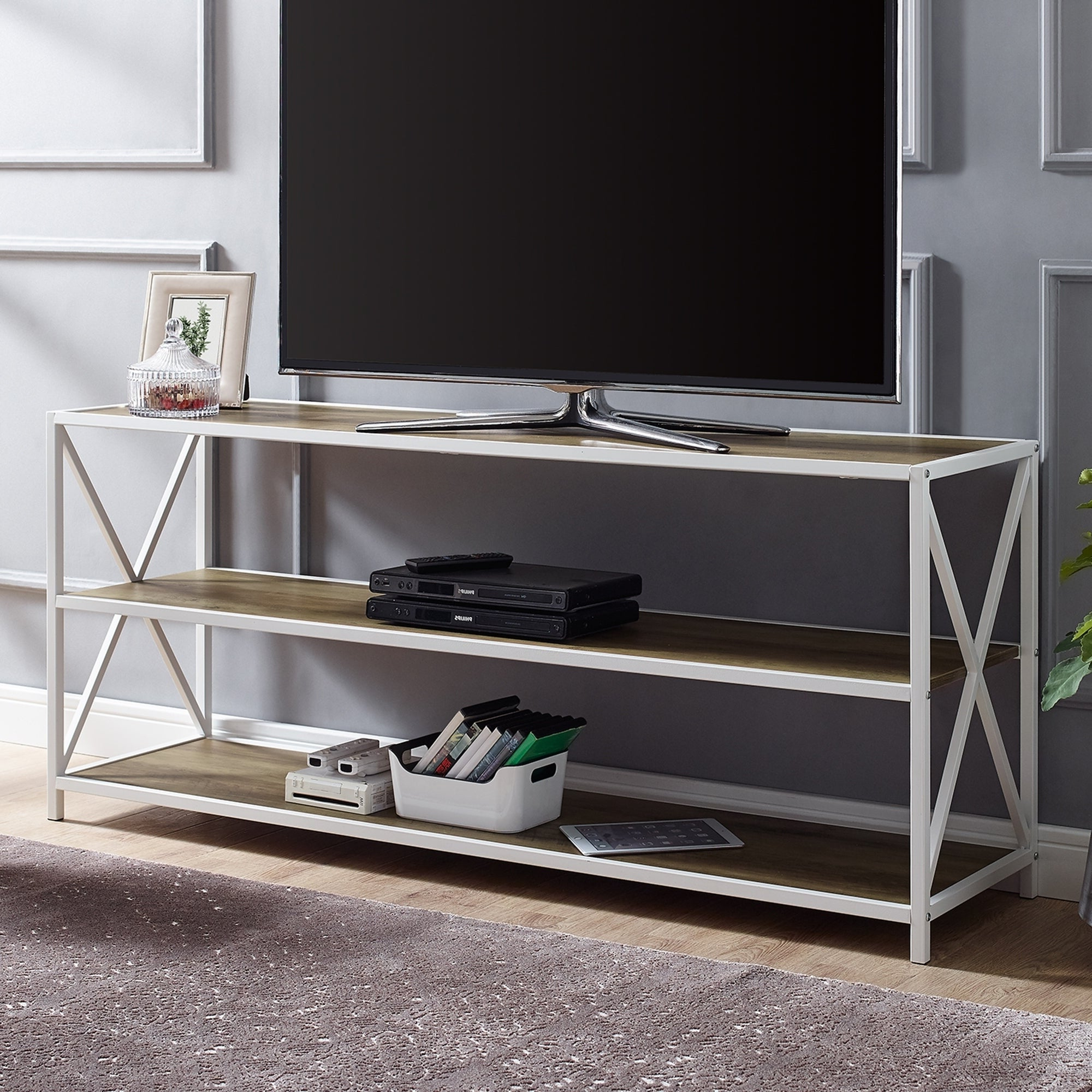 Carbon Loft Hattie 60 Inch X Frame Media Bookshelf – 60 X 16 X 26h With Preferred Hattie Corner Bookcases (View 16 of 20)