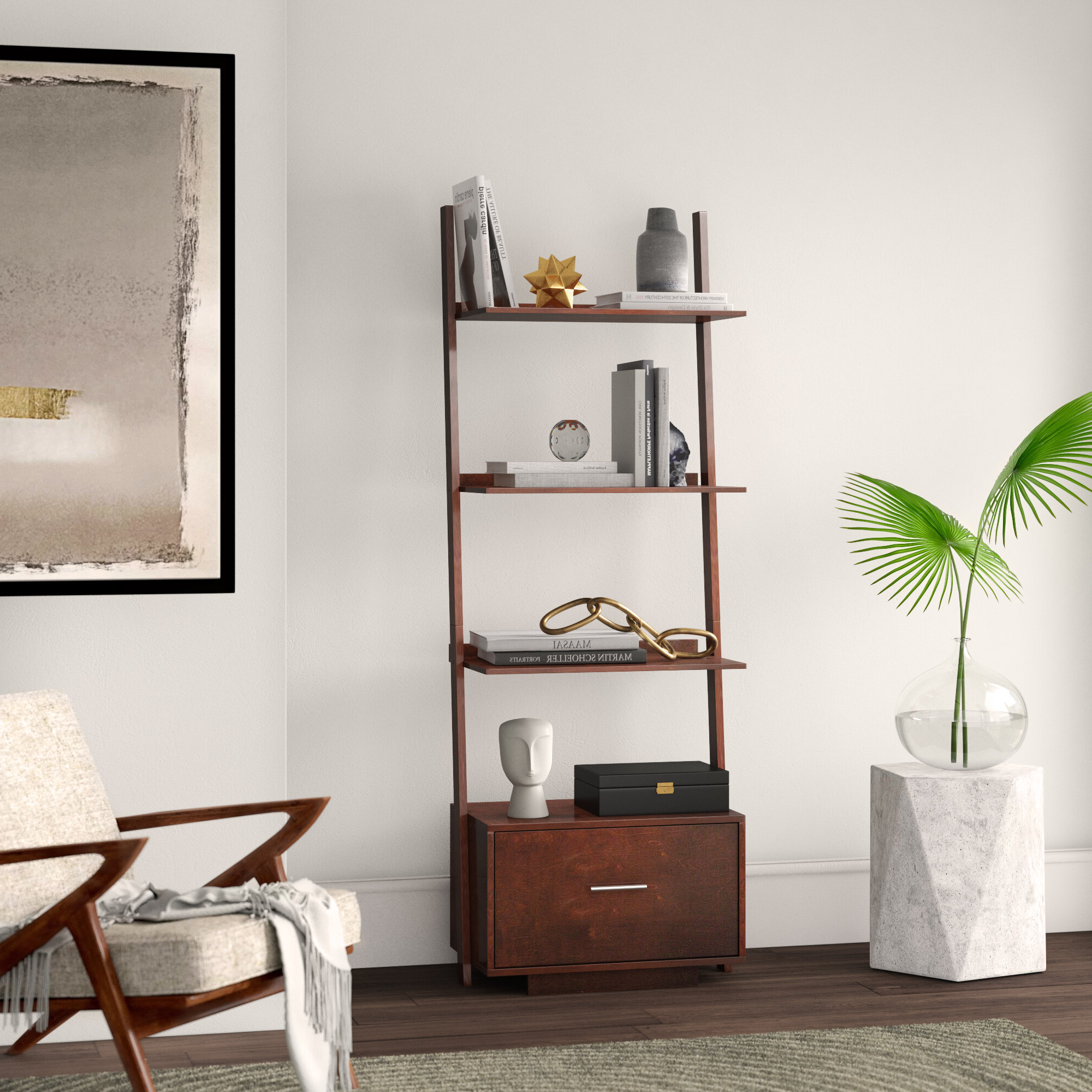Carlucci Ladder Bookcase For Preferred Moskowitz Ladder Bookcases (View 3 of 20)
