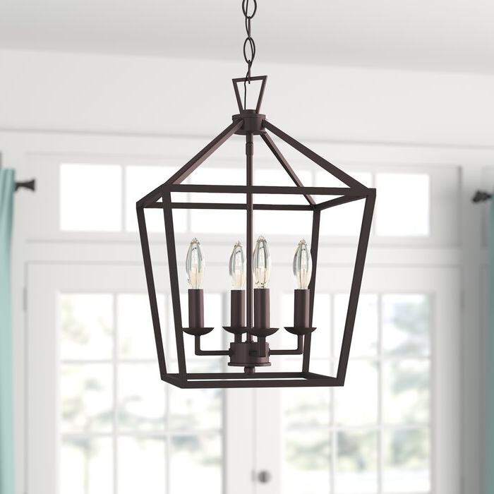Carmen 4 Light Lantern Geometric Pendant With Regard To Most Recently Released Louanne 3 Light Lantern Geometric Pendants (View 3 of 25)