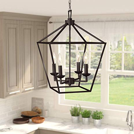 Carmen 8 Light Lantern Geometric Pendants For Most Recent Amazon: 4 Light Lantern Pendant – Contemporary Ceiling (View 10 of 25)