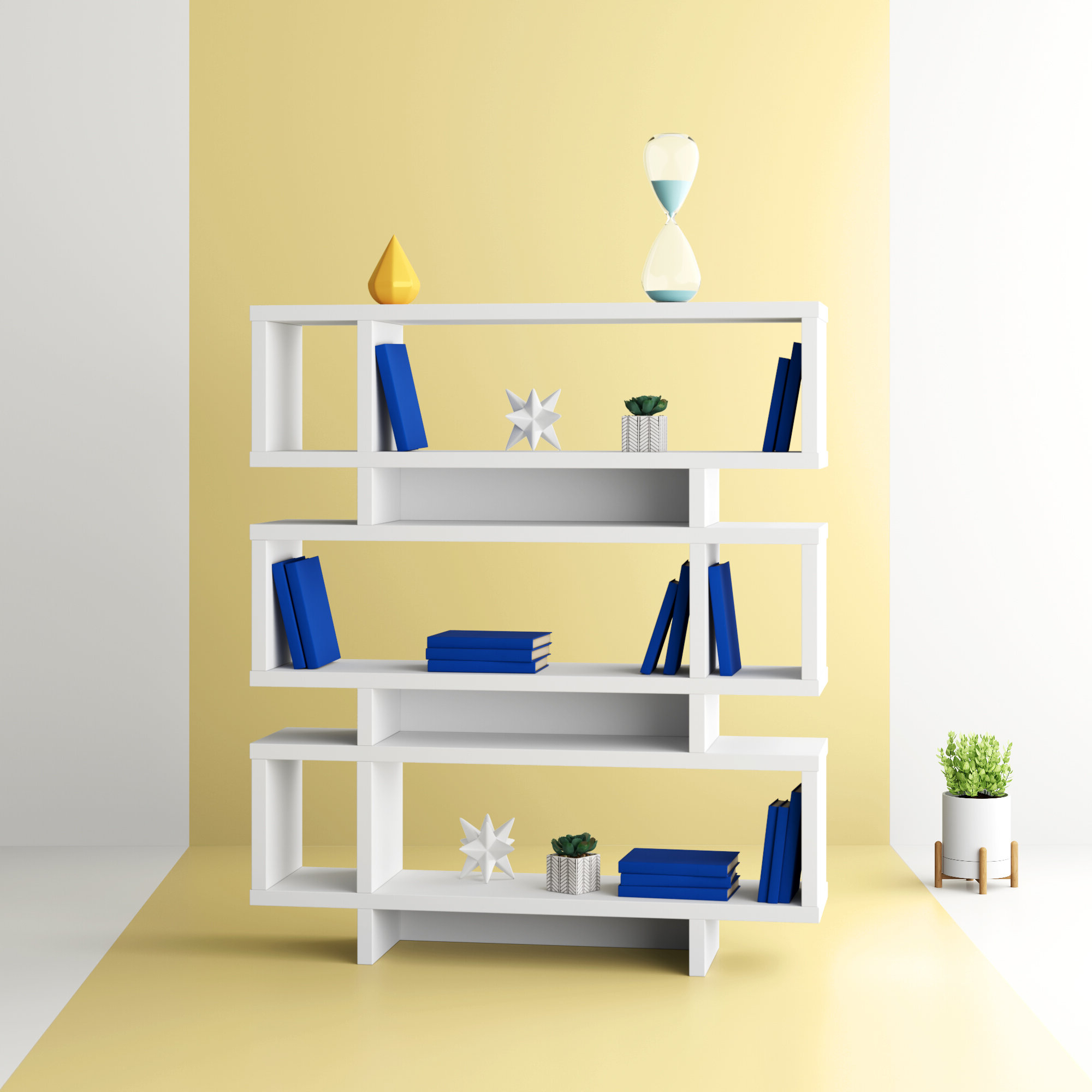 Carnageeragh Geometric Bookcases Regarding Well Known Aleksandra Geometric Bookcase (View 9 of 20)