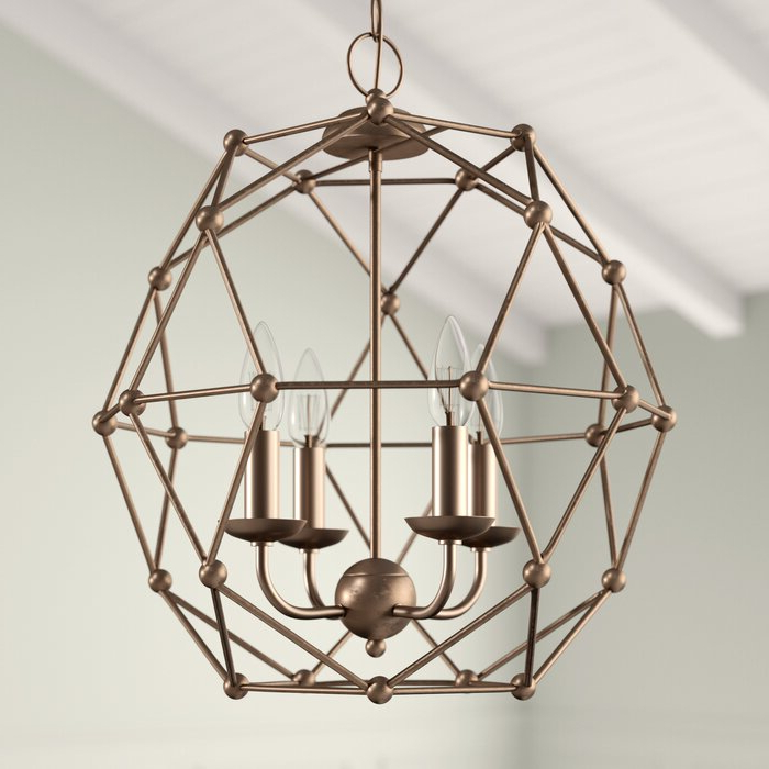 Cavanagh 4 Light Geometric Chandelier For Current Cavanagh 4 Light Geometric Chandeliers (View 7 of 25)