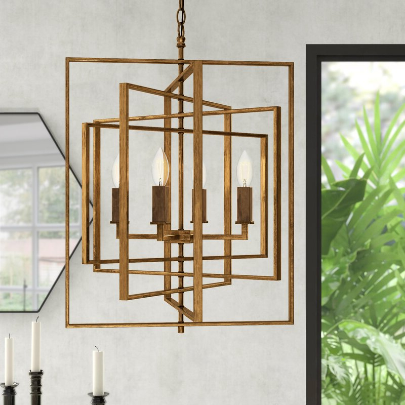 Cavanagh 4 Light Geometric Chandeliers With Well Known Yarnell 4 Light Square/rectangle Chandelier (View 11 of 25)