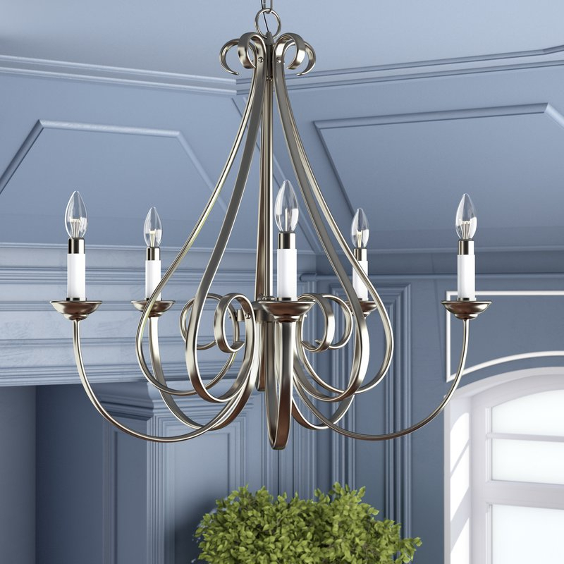 Cayman 5 Light Candle Style Chandelier Intended For Most Recent Berger 5 Light Candle Style Chandeliers (View 11 of 25)