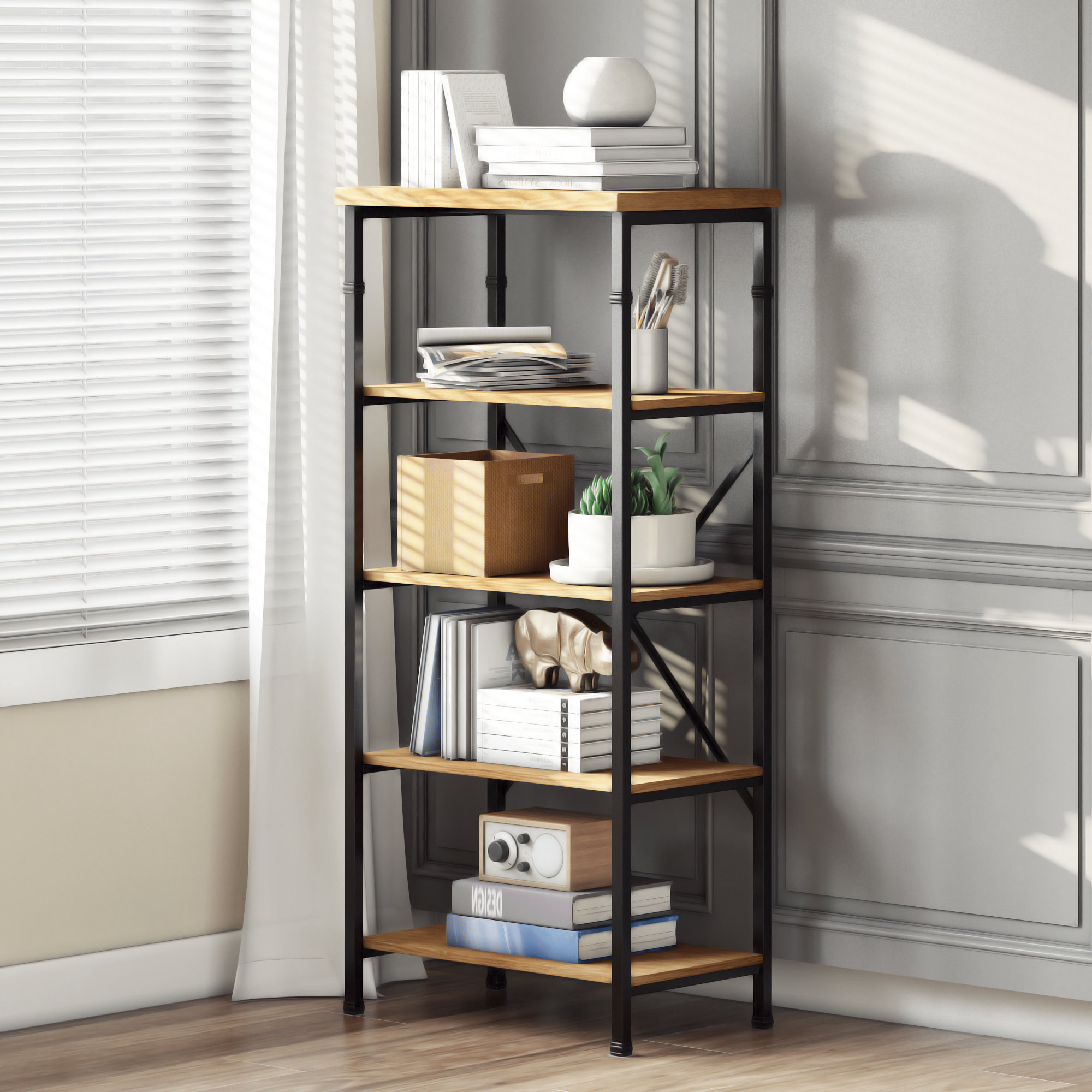 Cecelia Etagere Bookcases Intended For Famous Knapp Etagere Bookcase (View 14 of 20)