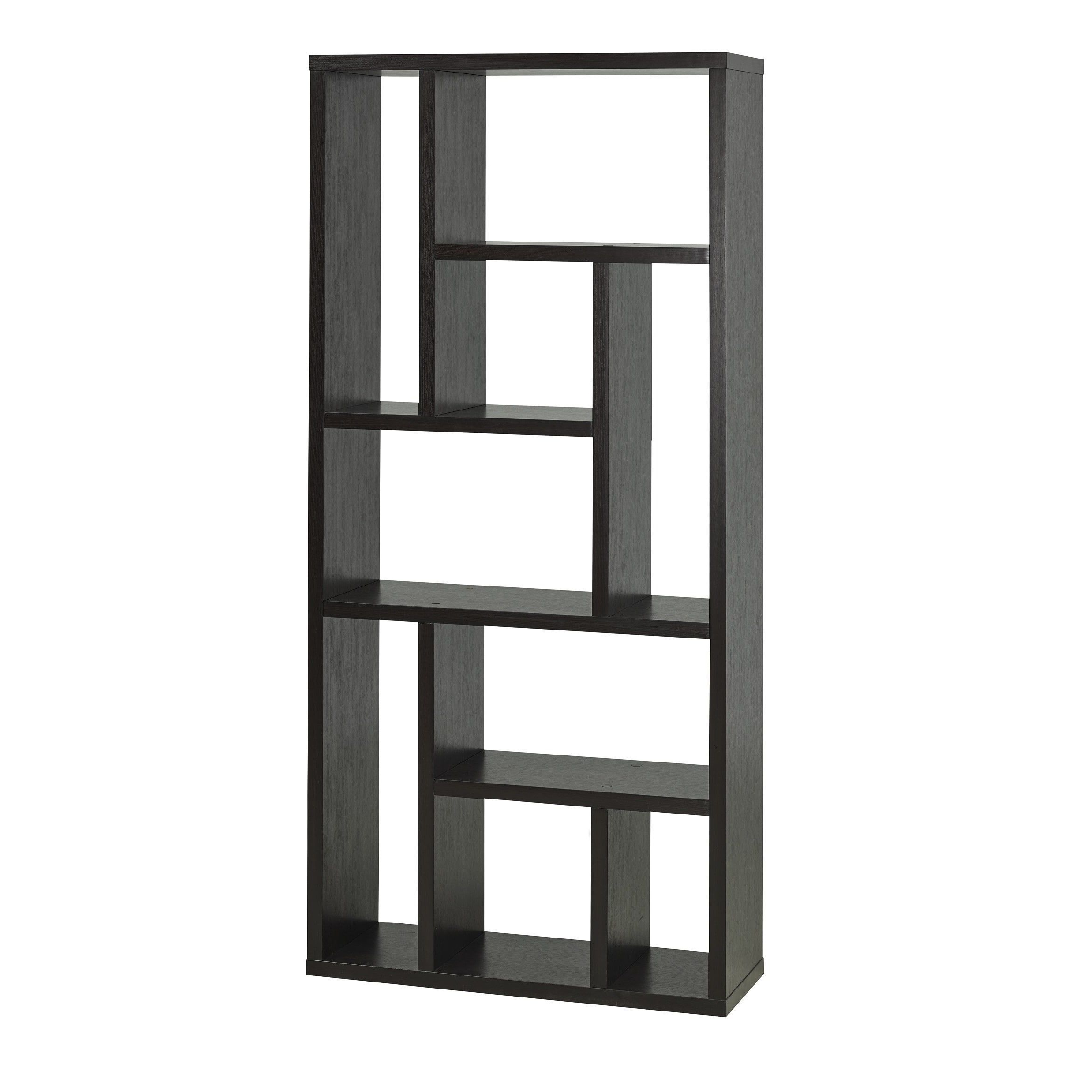 Chantilly Geometric Bookcases Throughout Most Recently Released Brassex 11399 Espresso Finish Display Shelf (dark Cherry (View 18 of 20)