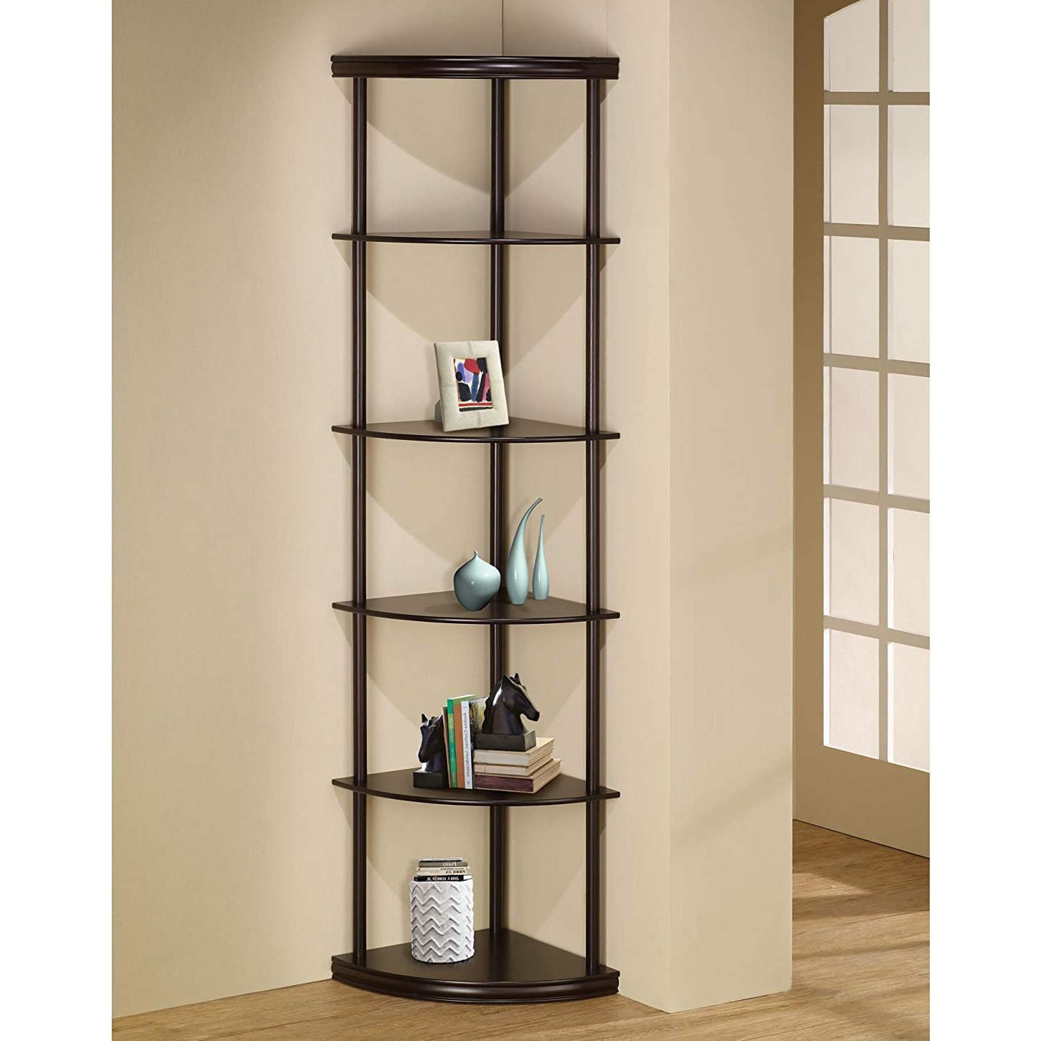 "Charlton Home 72"" Open Back Panel Corner Unit Bookcase Espresso, Number Of  Shelving Tiers: 5 , Shelf: 13'' H For Most Current Emerson Corner Unit Bookcases (View 3 of 20)"