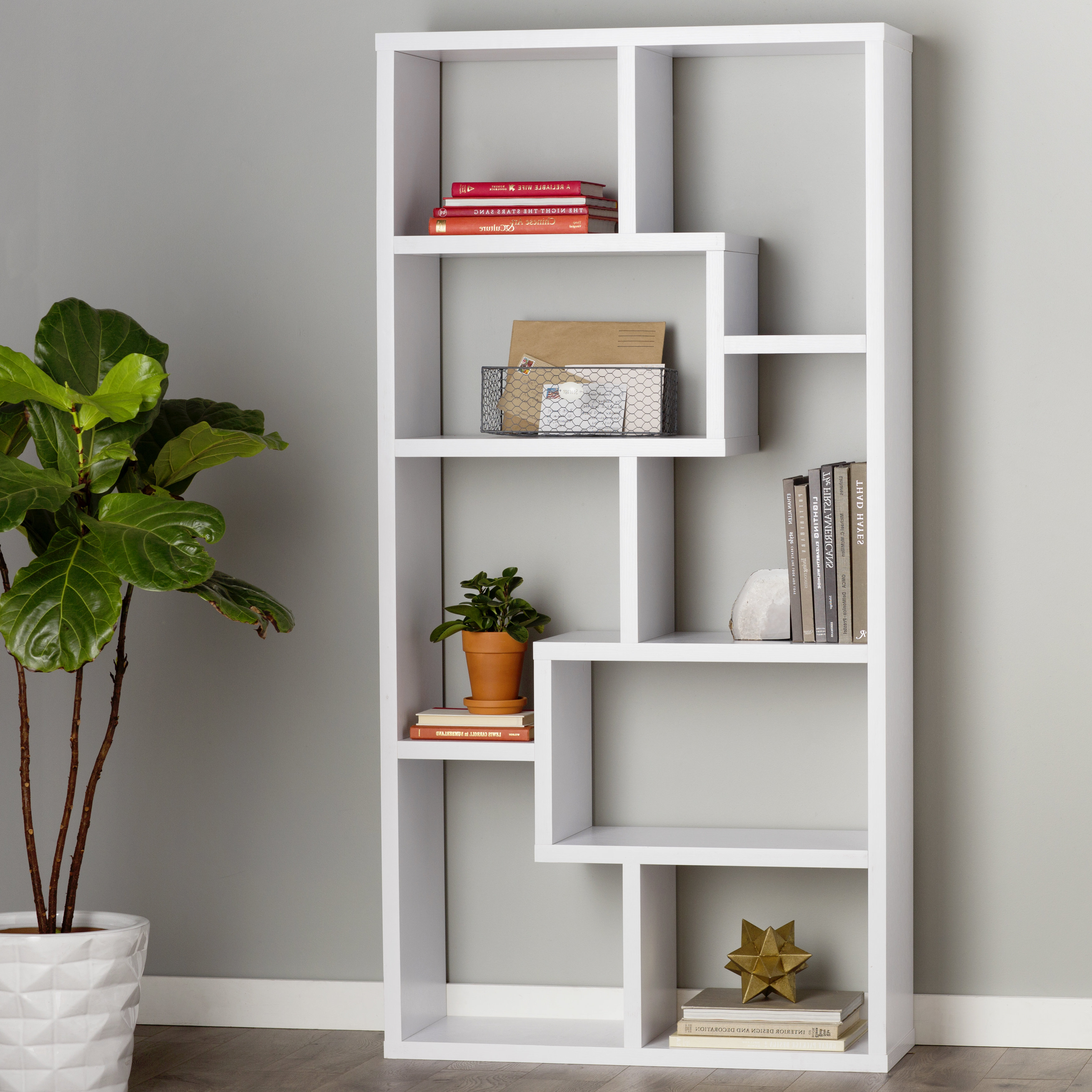Chrysanthos Etagere Bookcase In Most Up To Date Bostic Geometric Bookcases (View 16 of 20)